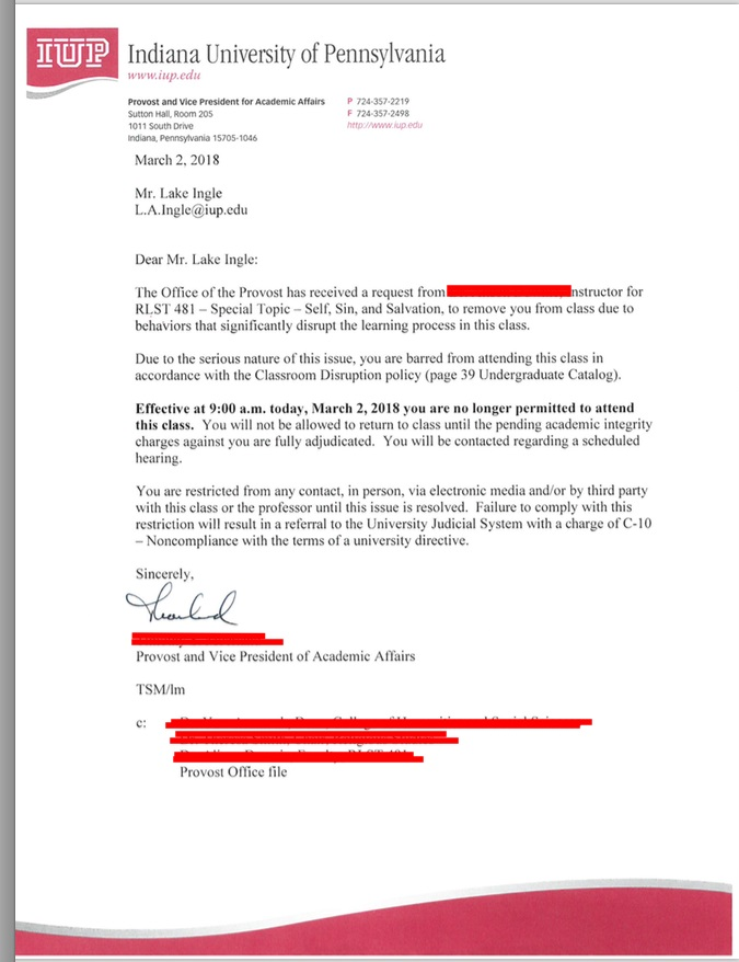Letter From Provost (Courtesy of Lake Ingle)