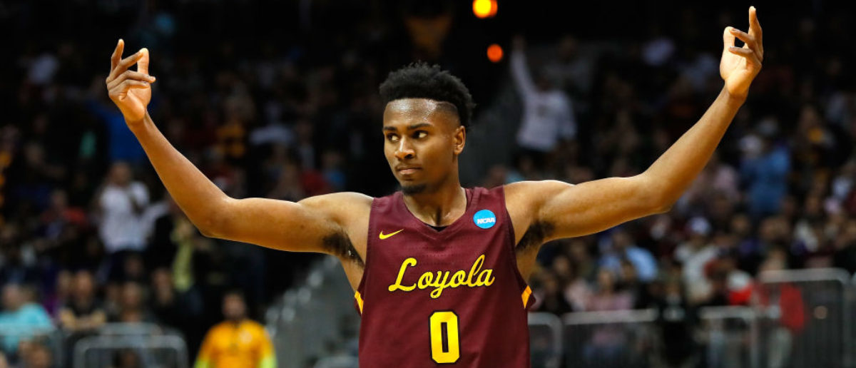 ATLANTA, GA - MARCH 24: Donte Ingram #0 of the Loyola Ramblers reacts after a play in the second half against the Kansas State Wildcats during the 2018 NCAA Men's Basketball Tournament South Regional at Philips Arena on March 24, 2018 in Atlanta, Georgia. (Photo by Kevin C. Cox/Getty Images)