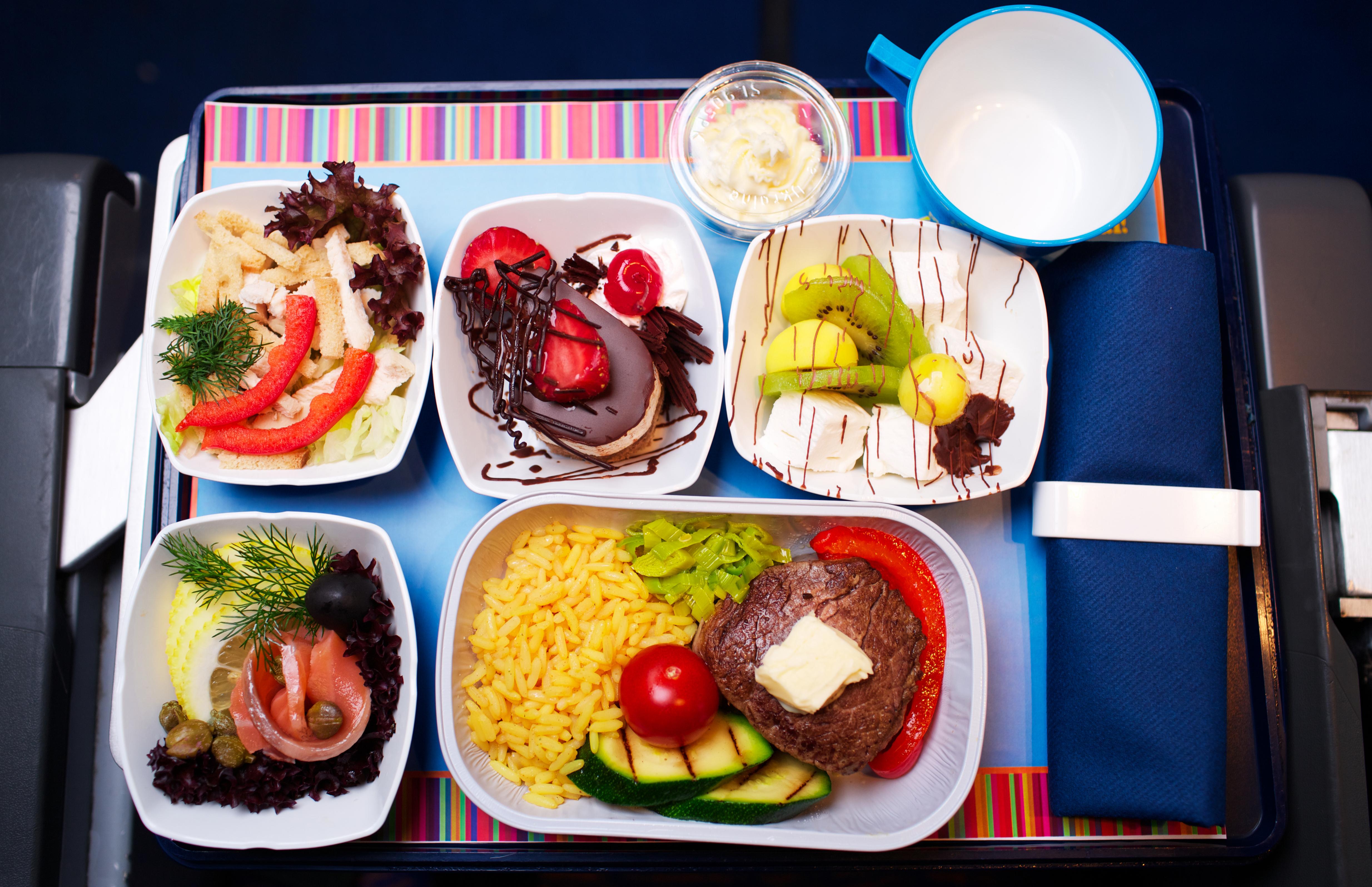 Tray of food on the plane Shutterstock/ StudioSmart
