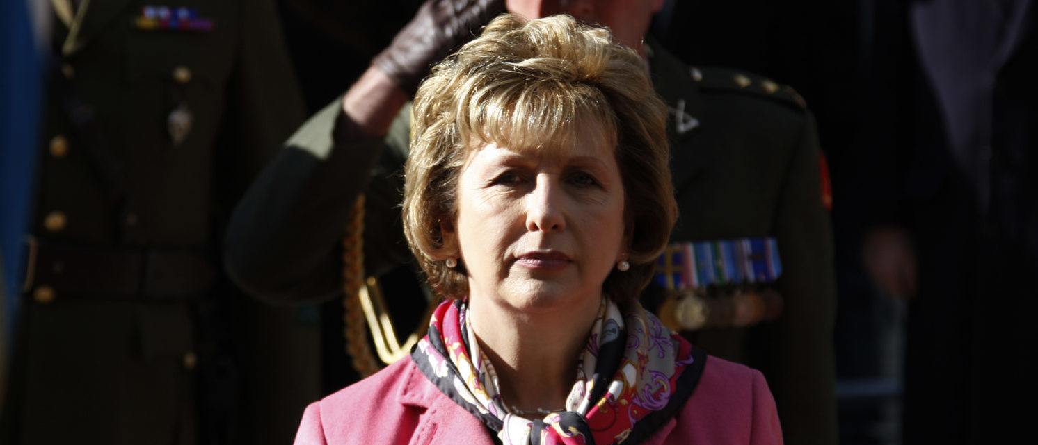 Ireland's President Mary McAleese attends a welcoming ceremony in Luxembourg, October 14, 2009. McAleese is on a two-day official state visit to Luxembourg.  REUTERS/Francois Lenoir