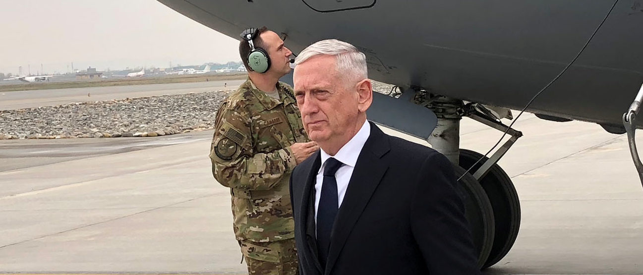 U.S. Defense Secretary Jim Mattis lands in Kabul on March 13, 2018 on an unannounced trip to Afghanistan. REUTERS/Phil Stewart
