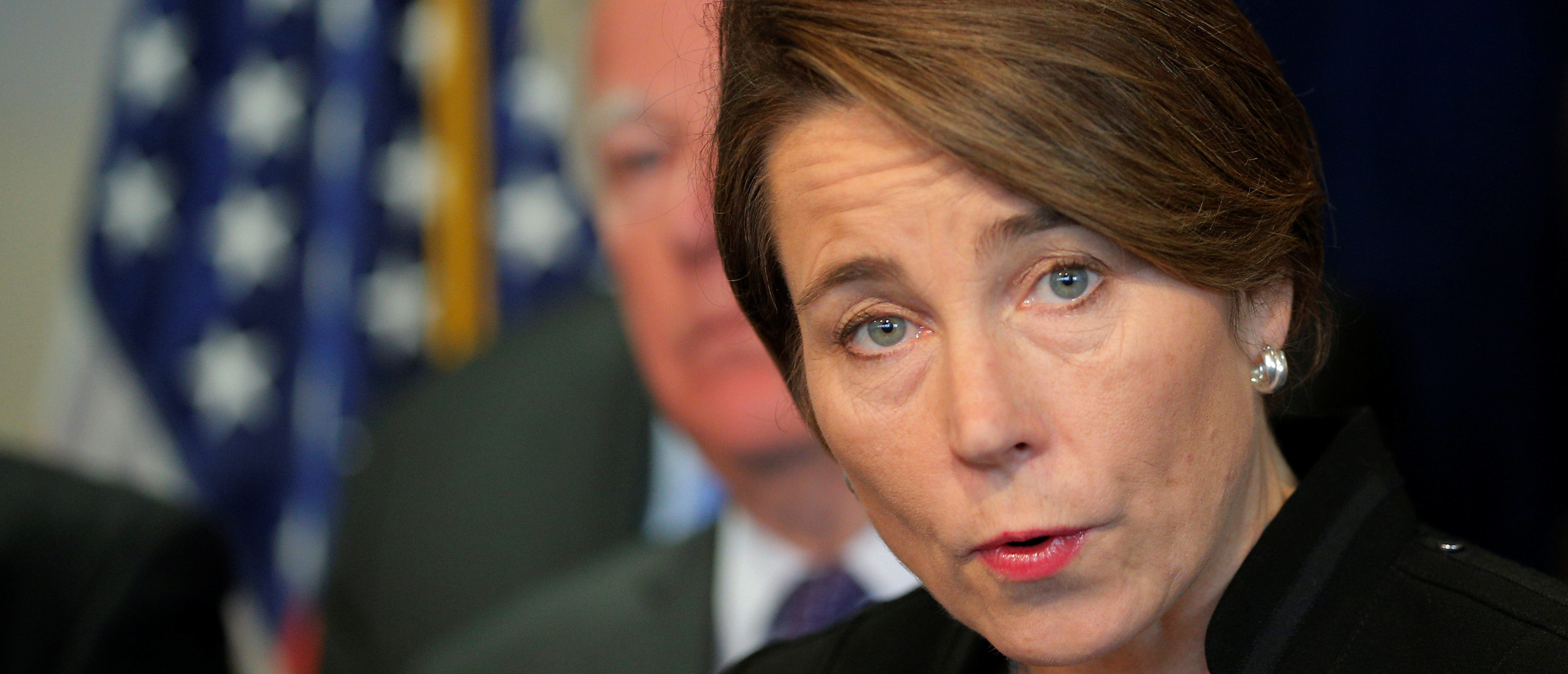 Massachusetts Attorney General Maura Healey announces the state will join a lawsuit challenging U.S. President Donald Trump's executive order travel ban in Boston, Massachusetts, U.S., January 31, 2017.   REUTERS/Brian Snyder - RC128E94EBA0