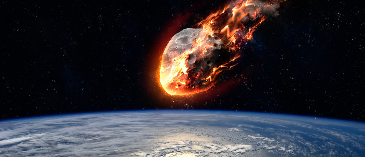 A Meteor glowing as it enters the Earth's atmosphere.