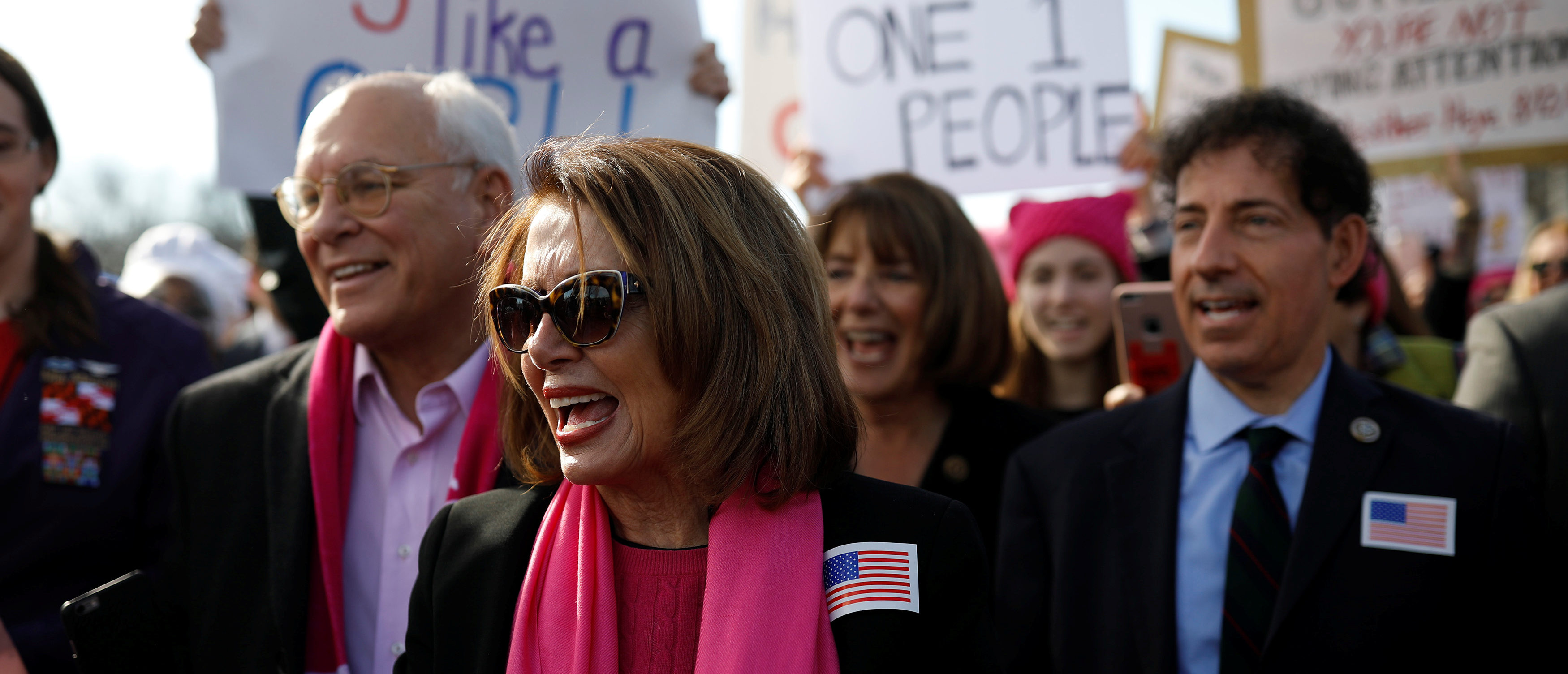 House Minority Leader Nancy Pelosi participates in the second annual Women's March in Washington, U.S. January 20, 2018. REUTERS/Aaron Bernstein -