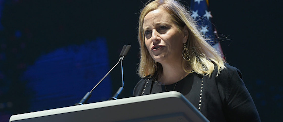 NASHVILLE, TN - OCTOBER 02: Nashville Mayor Megan Barry addresses the crowd during Nashville Candelight Vigil For Las Vegas at Ascend Amphitheater on October 2, 2017 in Nashville, Tennessee. Late Sunday night, a lone gunman, Stephan Paddock, 64, of Mesquite, Nevada, opened fire on attendees at the Route 91 Harvest Festival, a three-day country music festival, leaving at least 59 dead and over 500 injured before killing himself. The massacre is one of the deadliest mass shooting events in U.S. history. (Photo by Rick Diamond/Getty Images)
