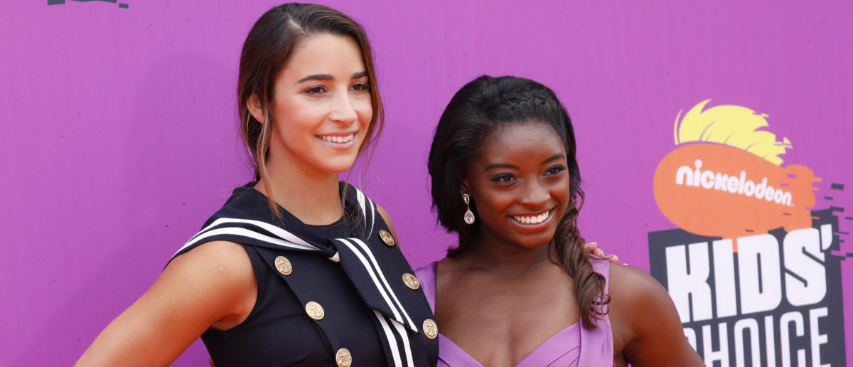 2017 Kids Choice Sport Awards � Arrivals � Los Angeles, California, U.S., 13/07/2017 - Olympic gymnasts Aly Raisman (L) and Simone Biles. REUTERS/Patrick T. Fallon | MSU Monitored Larry Nassar's Victims