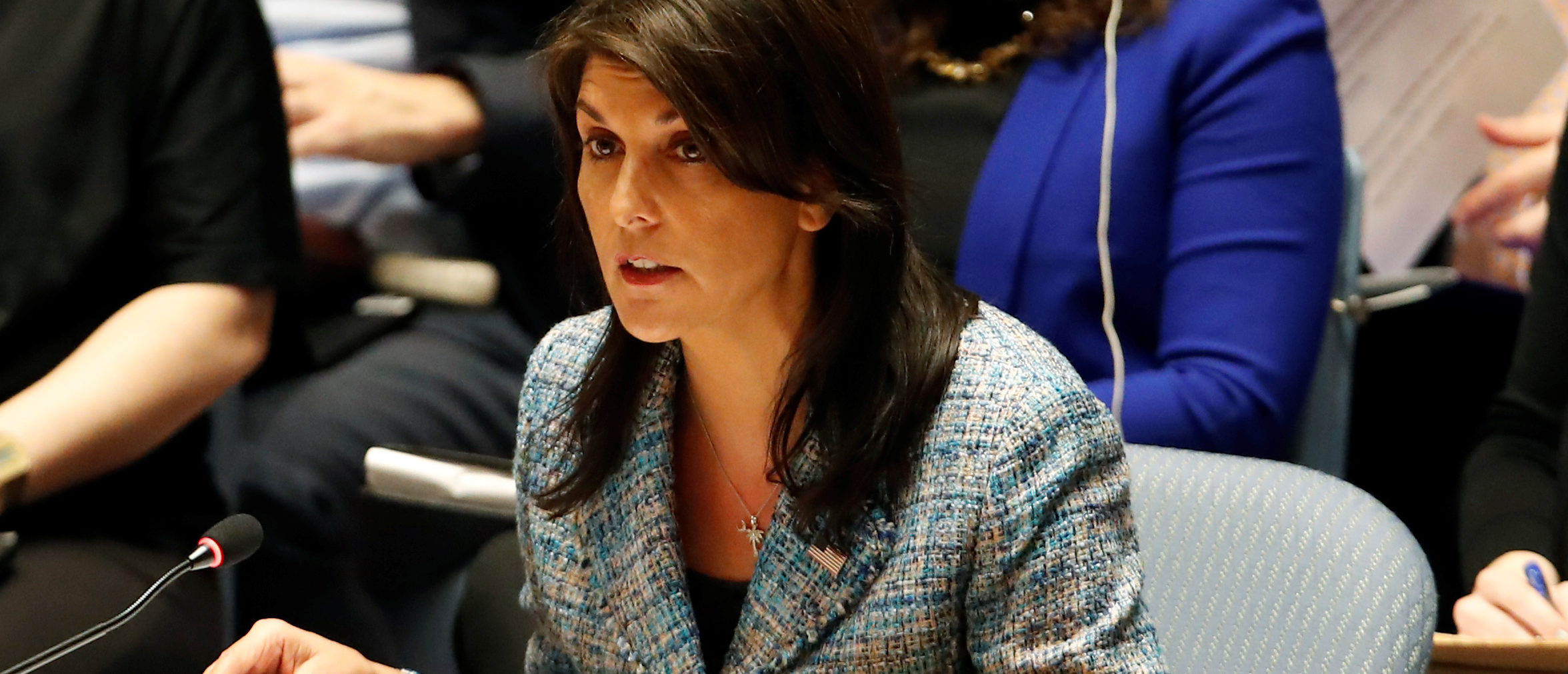 United States Ambassador to the United Nations Nikki Haley addresses the U.N. Security Council on Syria during a meeting of the Council at U.N. headquarters in New York, March 12, 2018. REUTERS/Mike Segar