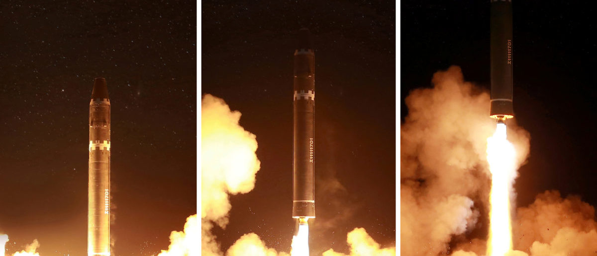 A view of the newly developed intercontinental ballistic rocket Hwasong-15's test was successfully launched is seen in this undated photo released by North Korea's Korean Central News Agency (KCNA) in Pyongyang November 30, 2017. REUTERS/KCNA