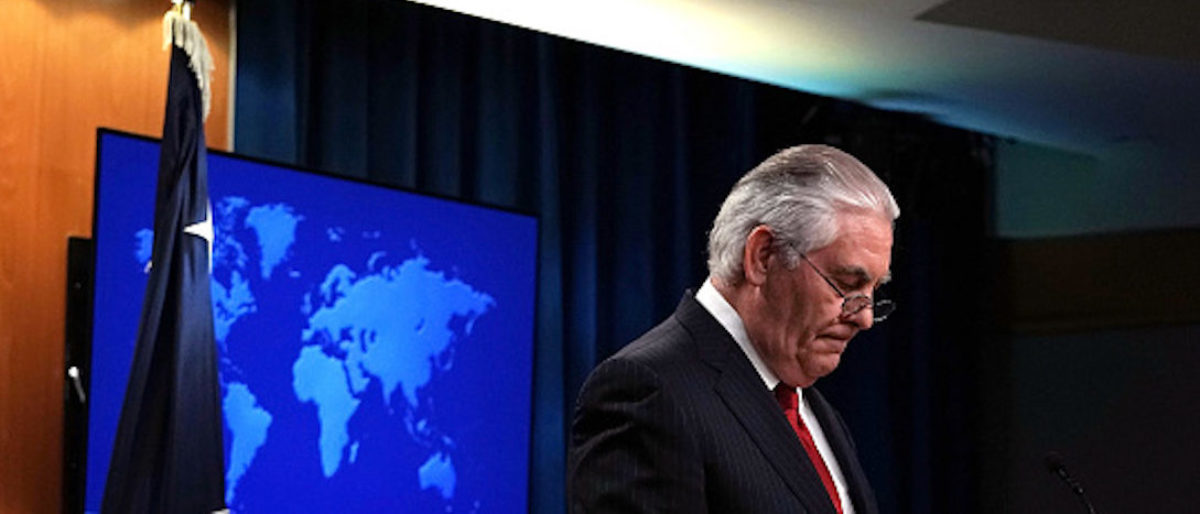 WASHINGTON, DC - MARCH 13: Outgoing U.S. Secretary of State Rex Tillerson pauses as he makes a statement on his departure from the State Department March 13, 2018 at the State Department in Washington, DC. President Donald Trump has nominated CIA Director Mike Pompeo to replace Tillerson to be the next Secretary of State. (Photo by Alex Wong/Getty Images)