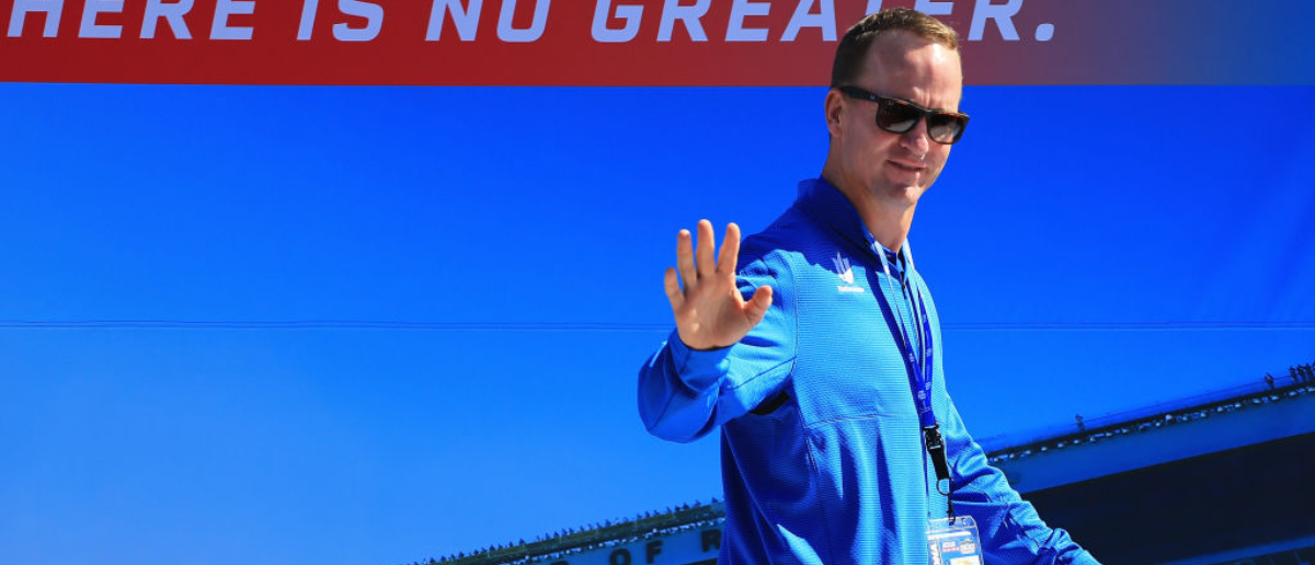 DAYTONA BEACH, FL - FEBRUARY 18: Two-time Super Bowl winning quarterback Peyton Manning is introduced prior to the Monster Energy NASCAR Cup Series 60th Annual Daytona 500 at Daytona International Speedway on February 18, 2018 in Daytona Beach, Florida. (Photo by Daniel Shirey/Getty Images)
