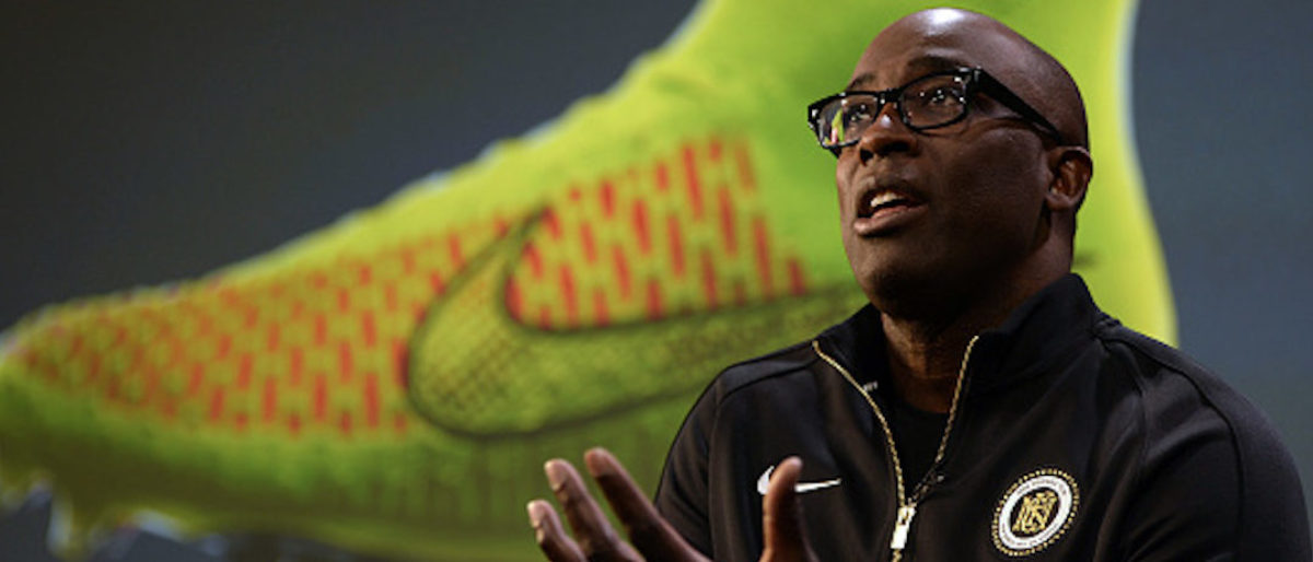 President of the Nike Brand Trevor Edwards presents the company's new