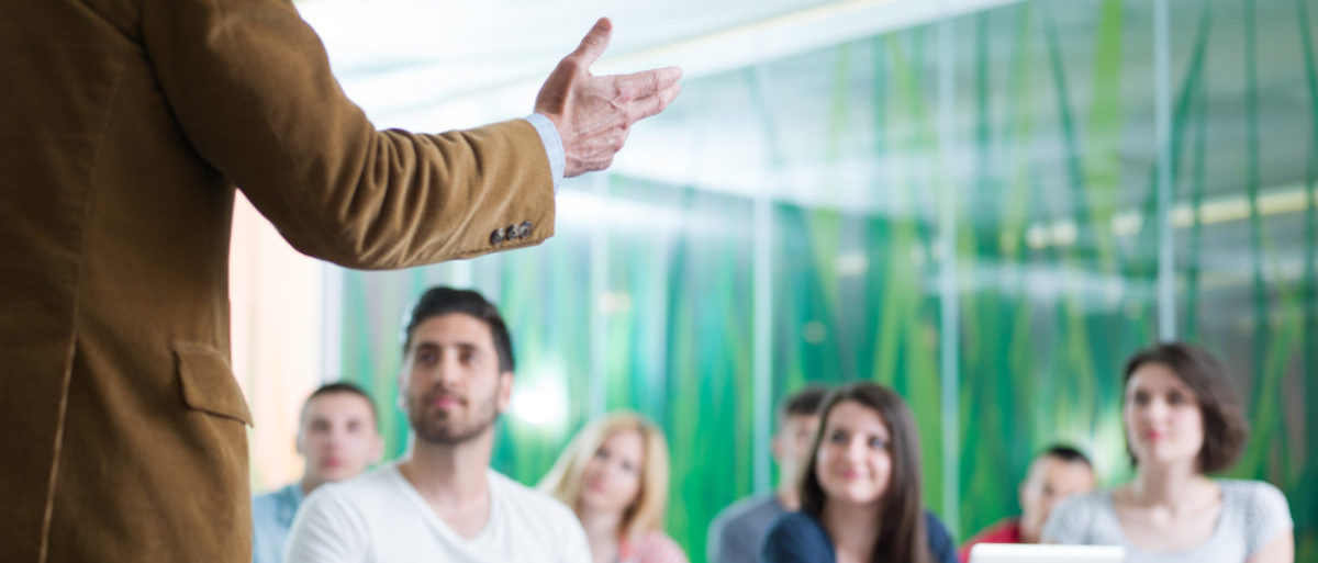 A professor teaches students some zany social justice nonsense. (Shutterstock/dotshock)