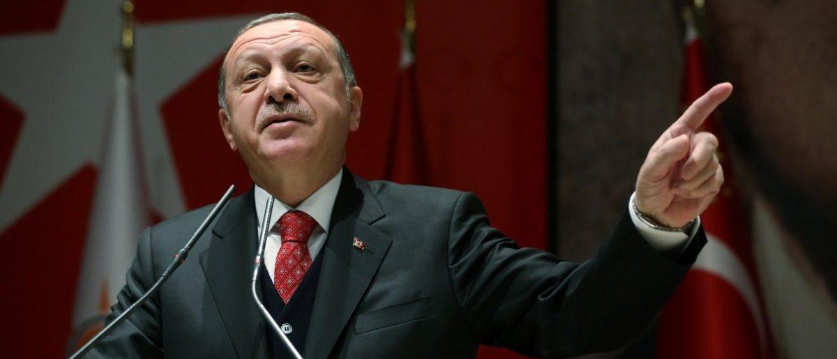 Turkey's President Tayyip Erdogan speaks during a meeting of his ruling AK Party in Ankara on November 17, 2017. Photo: Reuters