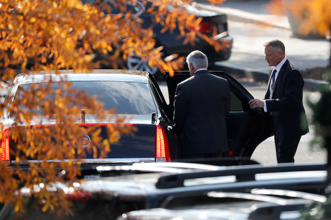 Secretary of State Rex Tillerson departs after meetings with President Donald Trump at the White House in Washington, November 30, 2017. REUTERS/Jonathan Ernst