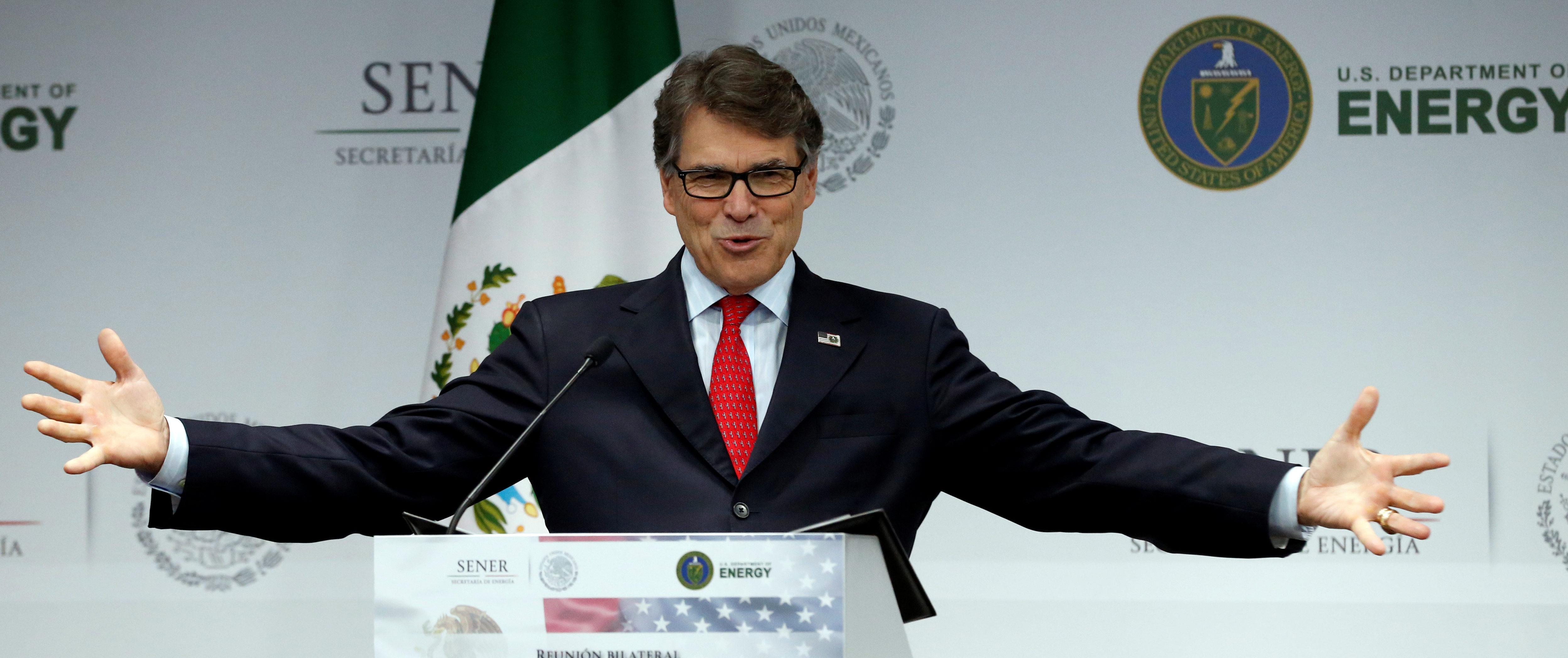 U.S. Energy Secretary Rick Perry addresses the media in Mexico City