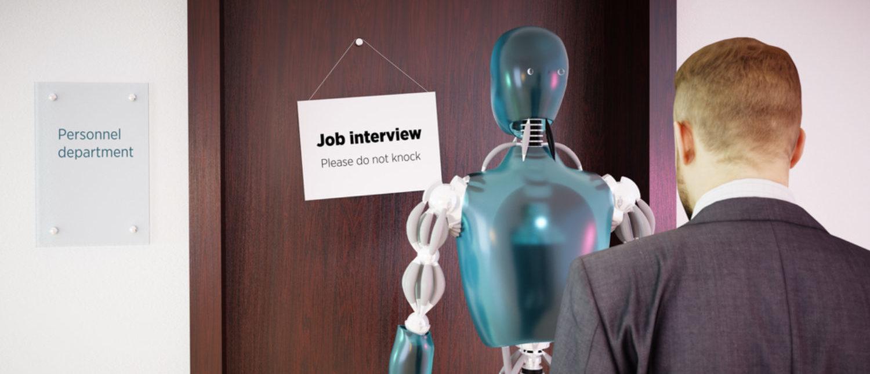 A man waiting in line with a robot for a job interview.[Shutterstock - petrmalinak]