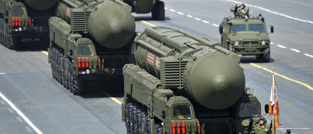 Russian RS-24 Yars/SS-27 Mod 2 solid-propellant intercontinental ballistic missiles drive during the Victory Day parade at Red Square in Moscow, Russia, May 9, 2015. Russia marks the 70th anniversary of the end of World War Two in Europe on Saturday with a military parade, showcasing new military hardware at a time when relations with the West have hit lows not seen since the Cold War. REUTERS/Host Photo Agency/RIA Novosti