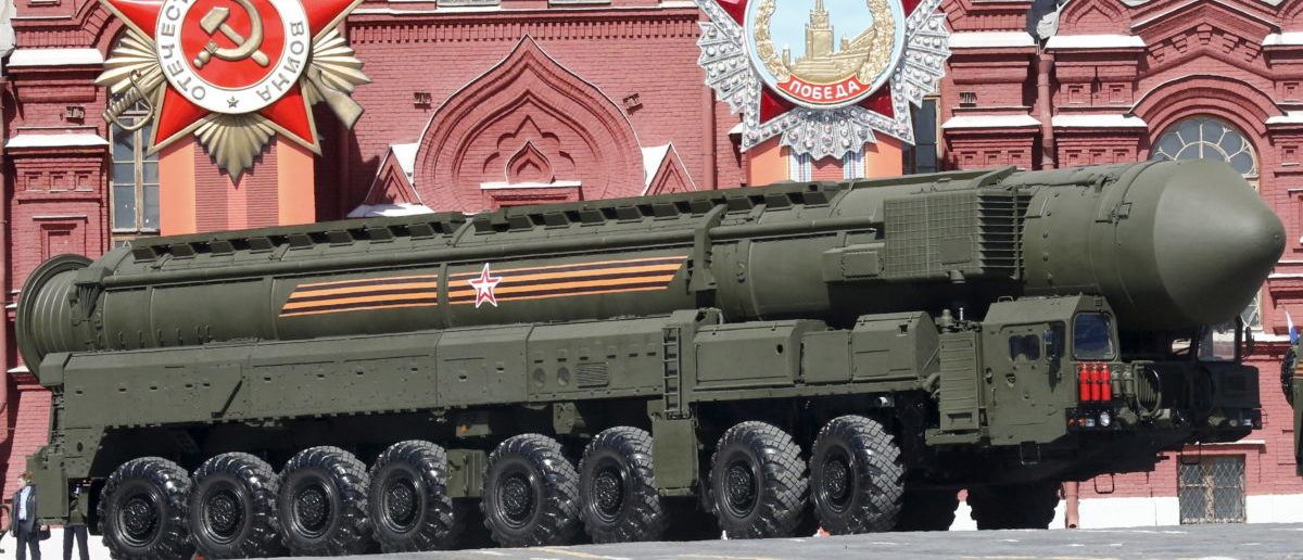 A Russian Yars RS-24 intercontinental ballistic missile system drives during a rehearsal for the Victory Day parade in Red Square in central Moscow, Russia, May 7, 2015. Russia will celebrate the 70th anniversary of the victory over Nazi Germany in World War Two on May 9. REUTERS/Grigory Dukor