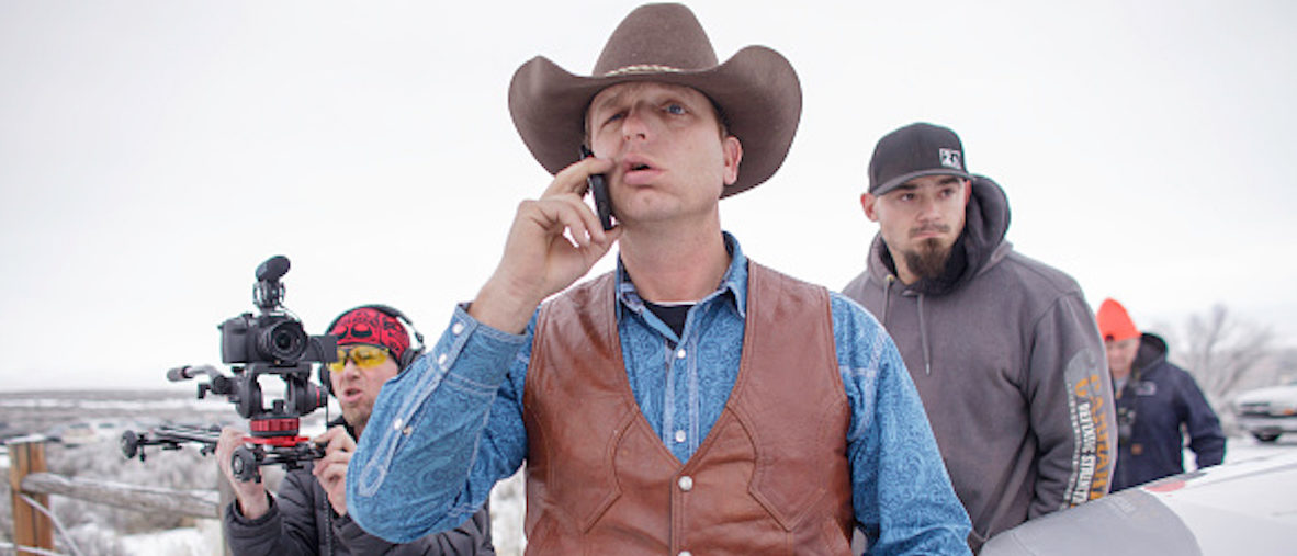 Ryan Bundy speaks on his phone at the occupied Malheur National Wildlife Refuge on the sixth day of the occupation of the federal building in Burns, Oregon on January 7, 2016. The leader of a small group of armed activists who have occupied a remote wildlife refuge in Oregon hinted on Wednesday that the standoff may be nearing its end. AFP PHOTO / ROB KERR / AFP / ROB KERR (Photo credit should read ROB KERR/AFP/Getty Images)
