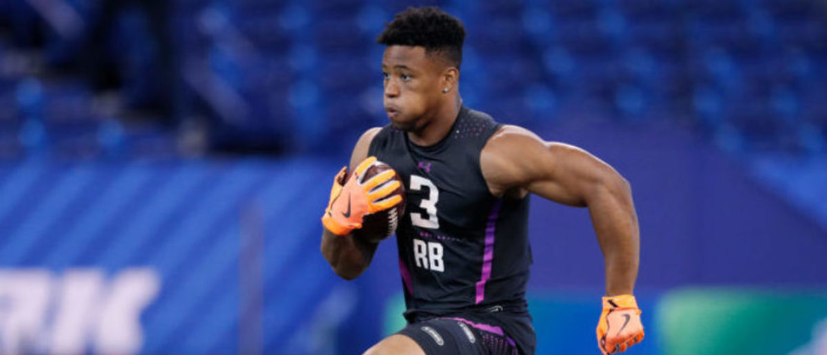 INDIANAPOLIS, IN - MARCH 02: Penn State running back Saquon Barkley in action during the 2018 NFL Combine at Lucas Oil Stadium on March 2, 2018 in Indianapolis, Indiana. (Photo by Joe Robbins/Getty Images)