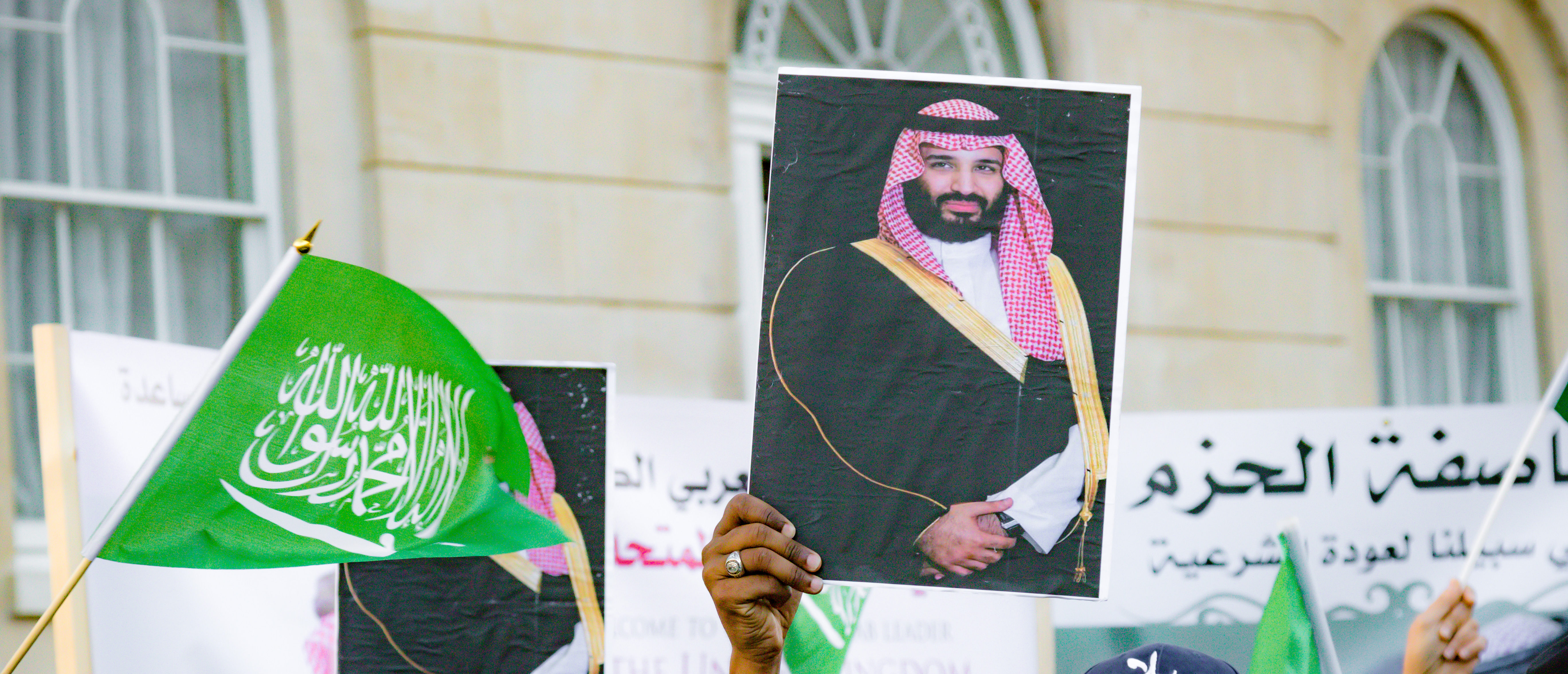 Downing Street, London, United Kingdom, 07th March 2018:- Pro Saudi Arabia protesters counter protest the Stop The War Coalition protest against the visit to the UK by the Crown Prince/Shutterstock