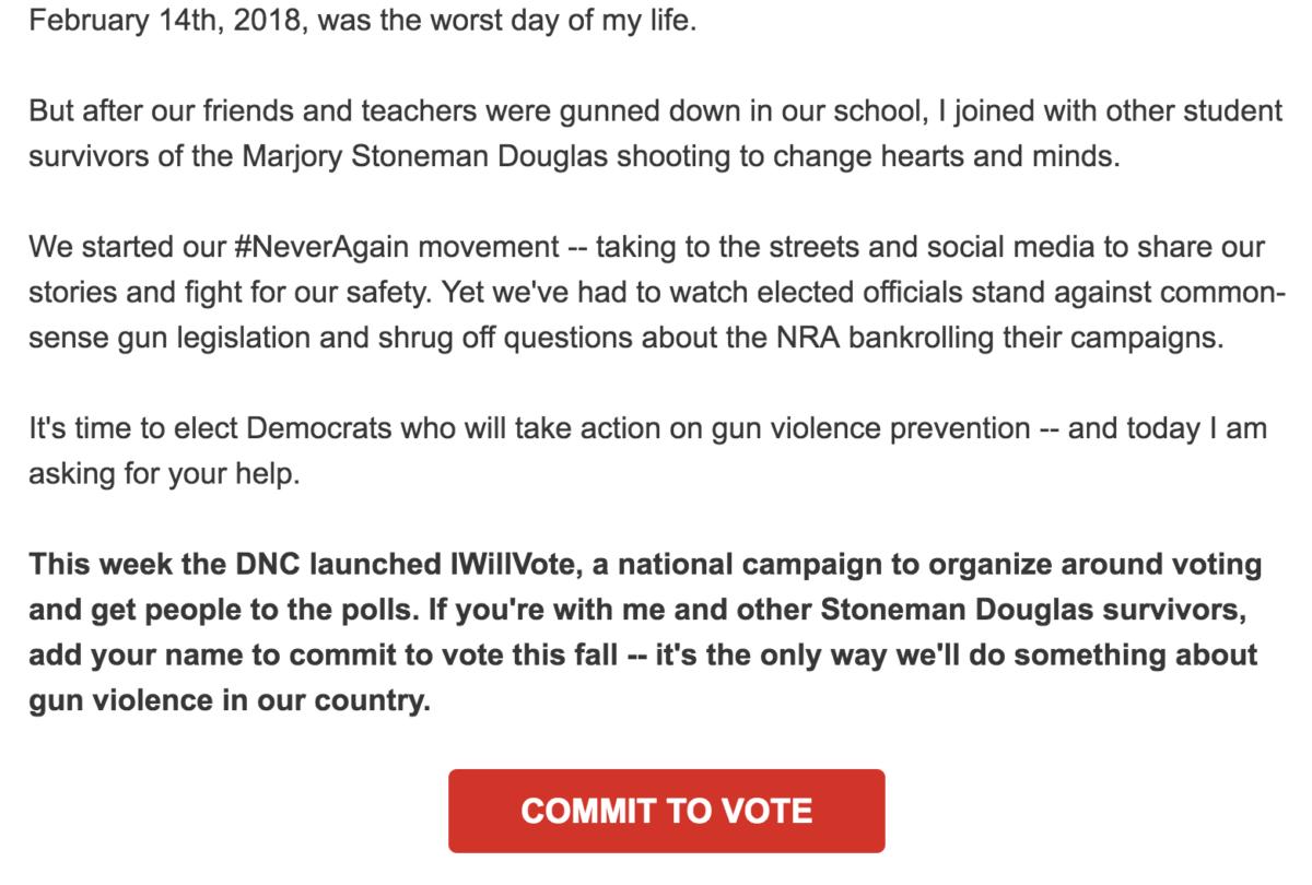 Parkland Survivor Writes DNC Fundraising Letter