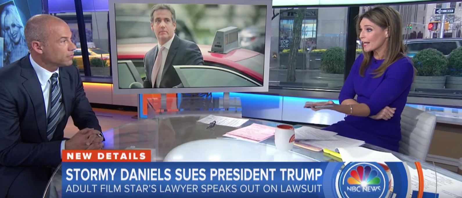 Screen Shot/Stormy Daniels' Attorney/Savannah Guthrie/NBC