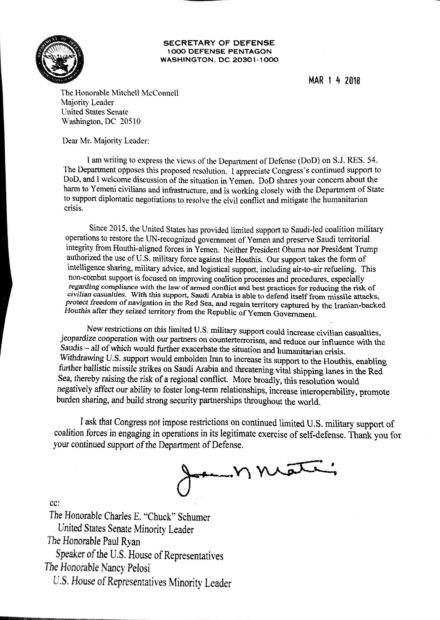 Defense Secretary James Mattis sent Congress a letter in which he expressed his opposition to a resolution to remove US Armed Forces from Yemen.