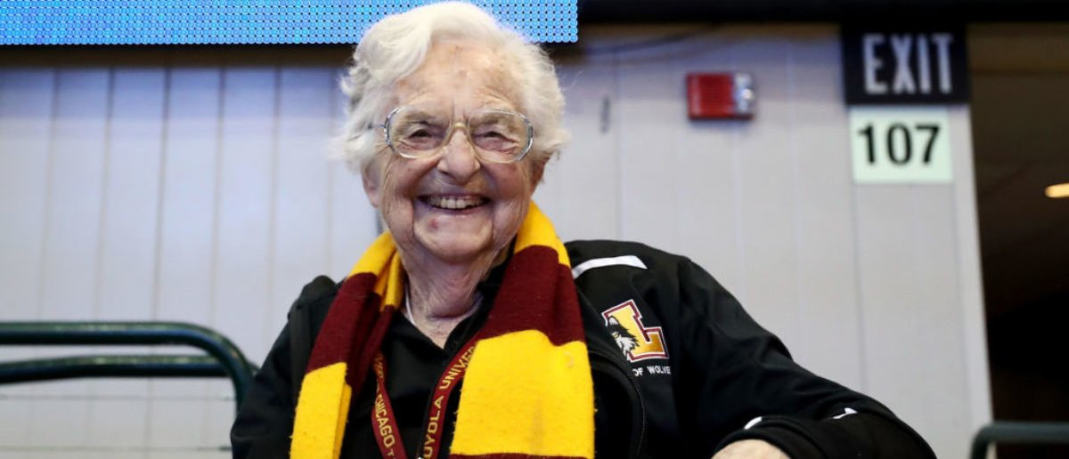 Sister Jean Dolores-Schmidt poses for a photo before the game between the Loyola Ramblers and Tennessee Volunteers during the second round of the 2018 NCAA Tournament at the American Airlines Center on March 17, 2018 in Dallas, Texas. (Photo by Ronald Martinez/Getty Images)
