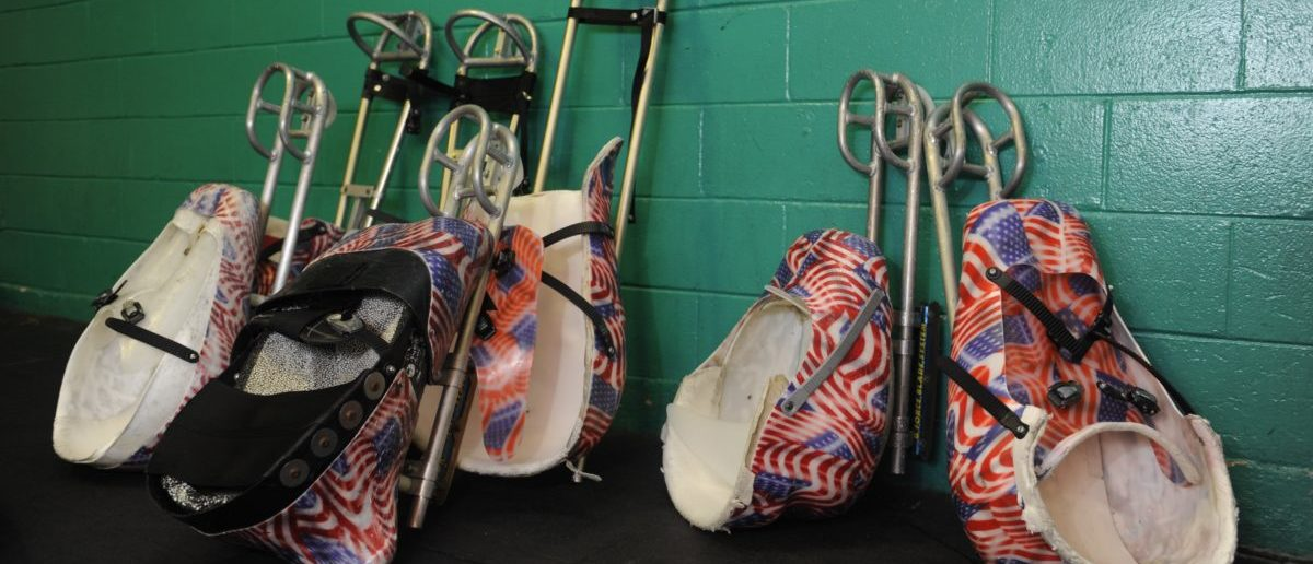 COLORADO SPRINGS, CO. FEBRUARY 27: A collection of sleds rest against a wall prior to the U.S. Paralympic Sled Hockey Team's final U.S. based practice at the Sertich Ice Arena in Colorado Springs, Colorado February 27, 2014.The team travels to Sochi, Russia this week to begin defense of their 2010 Paralympic gold medal at the 2014 Paralympic Winter Games in Sochi, Russia. (Photo by Jason Connolly/Getty Images)