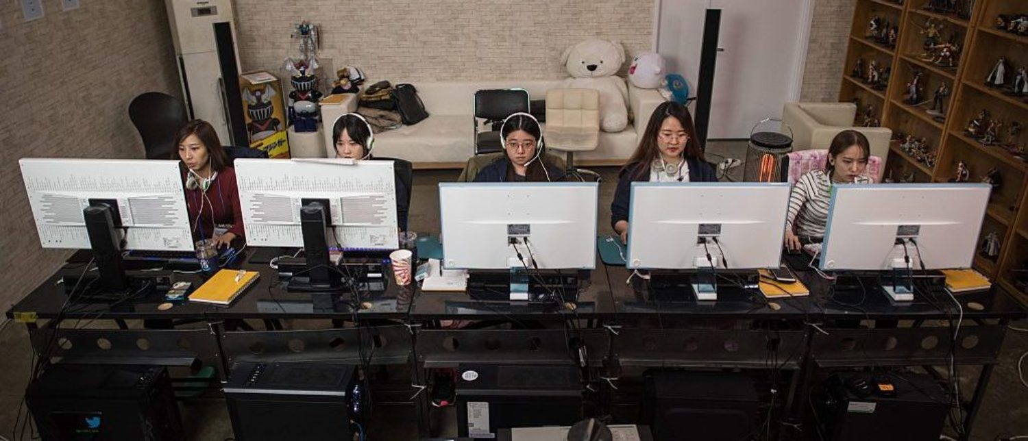 Brought together by a Seoul-based startup, the team trained intensively for a week prior to competing in the 'Ladies Battle, an all-female League of Legends competition. In keeping with a format used by most professional male teams, the members of 'QWER' lived together during the training period which involved playing the game for hours on end followed by lengthy review sessions with freelance mentors and former League of Legends champions. (Photo: ED JONES/AFP/Getty Images)