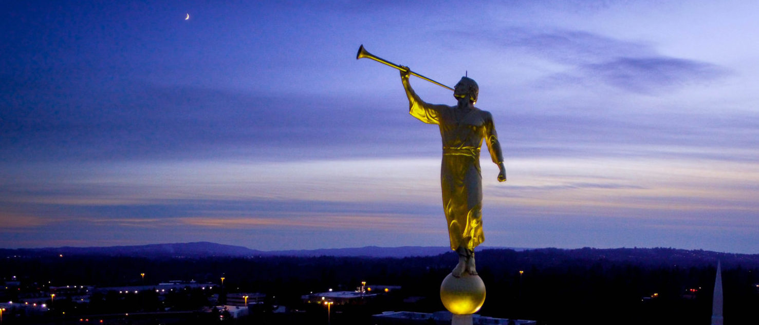 Statue Atop Mormon Temple (shutterstock/Air Time Dronography)