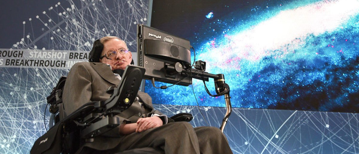 Stephen Hawking, CH, CBE, FRS, Dennis Stanton Avery and Sally Tsui Wong-Avery Director of Research, University of Cambridge as he and Yuri Milner host press conference to announce Breakthrough Starshot, a new space exploration initiative, at One World Observatory on April 12, 2016 in New York City. (Photo by Bryan Bedder/Getty Images for Breakthrough Prize Foundation)