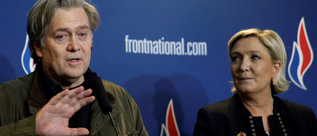 Marine Le Pen, National Front (FN) political party leader, and Former White House Chief Strategist Steve Bannon attend a news conference, during the party's convention in Lille, France, March 10, 2018. REUTERS/Pascal Rossignol