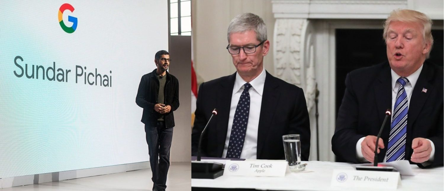Left: SAN FRANCISCO, CA - OCTOBER 04: Pichai Sundararajan, known as Sundar Pichai, CEO of Google Inc. speaks during an event to introduce Google Pixel phone and other Google products on October 4, 2016 in San Francisco, California. (Photo by Ramin Talaie/Getty Images) Right: WASHINGTON, DC - JUNE 19: Apple CEO Tim Cook listens to U.S. President Donald Trump deliver opening remarks during a meeting of the American Technology Council in the State Dining Room of the White House June 19, 2017 in Washington, DC. (Photo by Chip Somodevilla/Getty Images)