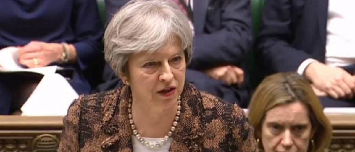 British Prime Minister Theresa May issues statement on Skripal attack. (AFP/Getty Images)