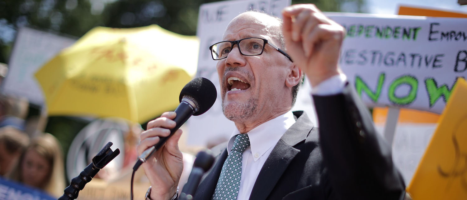 Democratic National Party Chairman Tom Perez speaks as about 300 people rally to protest against President Donald Trump's firing of Federal Bureau of Investigation Director James Comey outside the White House May 10, 2017 in Washington, DC. (Photo: Chip Somodevilla/Getty Images)