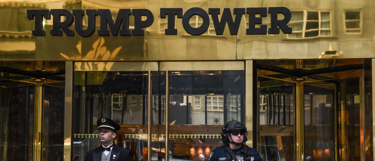 A member of the New York City police department stands guard outside of Trump Tower amid heightened security before the start of the United Nations General Assembly in New York City, U.S., September 17, 2017. REUTERS/Stephanie Keith