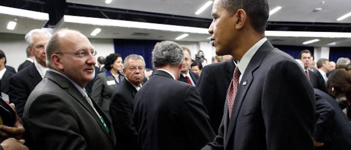 WASHINGTON - DECEMBER 03:  U.S. President Barack Obama (R) greets Allentown, Pennsylvania Mayor Ed Pawlowski after the administration's Jobs and Economic Growth Forum in the Eisenhower Executive Office Building December 3, 2009 in Washington, DC. Obama will visit Allentown tomorrow. The White House is billing the forum as an opportunity for Obama and his economic team to hear from CEOs, small business owners, labor leaders and nonprofit heads about economic policy.  (Photo by Chip Somodevilla/Getty Images)