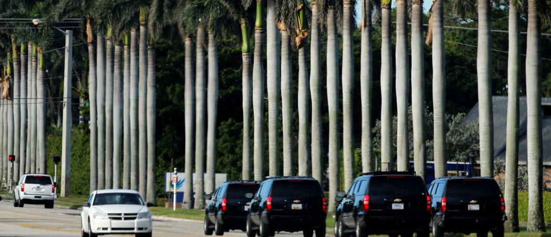 U.S. President Donald Trump's motorcade of black SUV's delivers him to the Trump International Golf Club in West Palm Beach, Florida, U.S., December 28, 2017. REUTERS/Jonathan Ernst