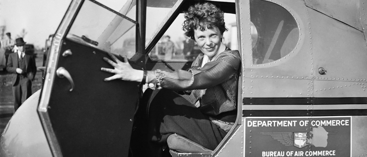 Amelia Earhart in Department of Commerce airplane, 1936. (Shutterstock/Everett Historical)
