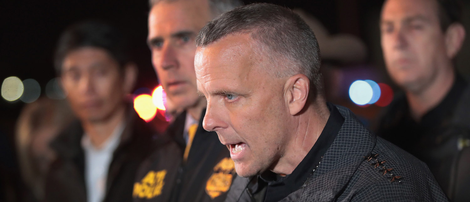ROUND ROCK, TX - MARCH 21: Austin Police Chief Brian Manley speaks to the media near the location where the suspected package bomber was killed in suburban Austin on March 21, 2018 in Round Rock, Texas. The 24-year-old suspect blew himself up inside his car as police approached the vehicle. A massive search had been underway by local and federal law enforcement officials in Austin and the surrounding area after several package bombs had detonated in recent weeks, killing two people and injuring several others. (Photo: Scott Olson/Getty Images)