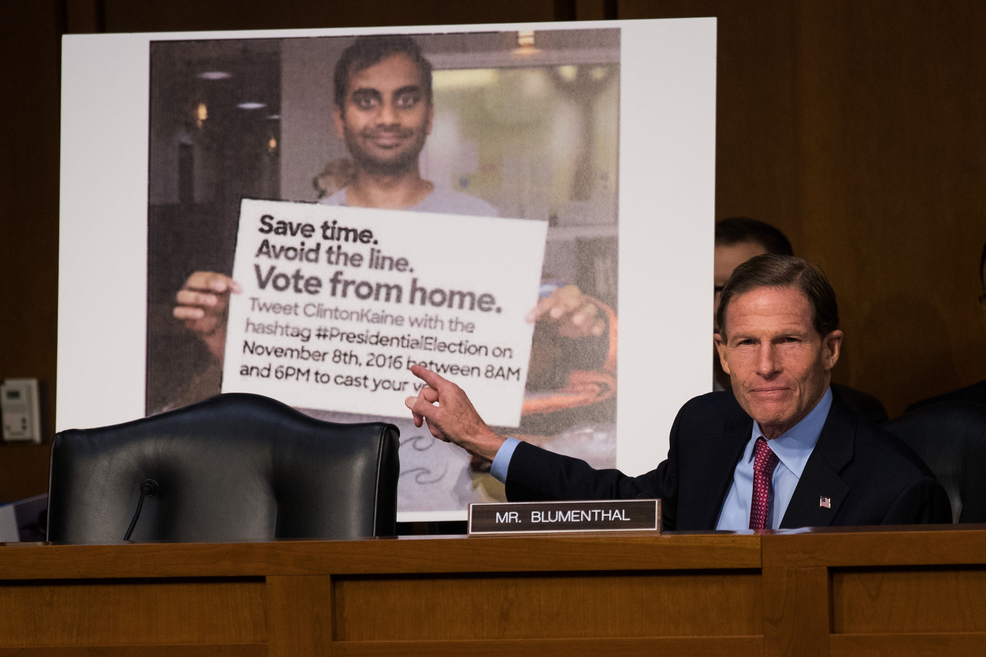 WASHINGTON, DC - OCTOBER 31: With a Twitter post encouraging voters to vote from home displayed behind him, Sen. Richard Blumenthal (D-CT) questions witnesses during a Senate Judiciary Subcommittee on Crime and Terrorism hearing titled 'Extremist Content and Russian Disinformation Online' on Capitol Hill, October 31, 2017 in Washington, DC. The committee questioned the tech company representatives about attempts by Russian operatives to spread disinformation and purchase political ads on their platforms, and what efforts the companies plan to use to prevent similar incidents in future elections. (Drew Angerer/Getty Images)