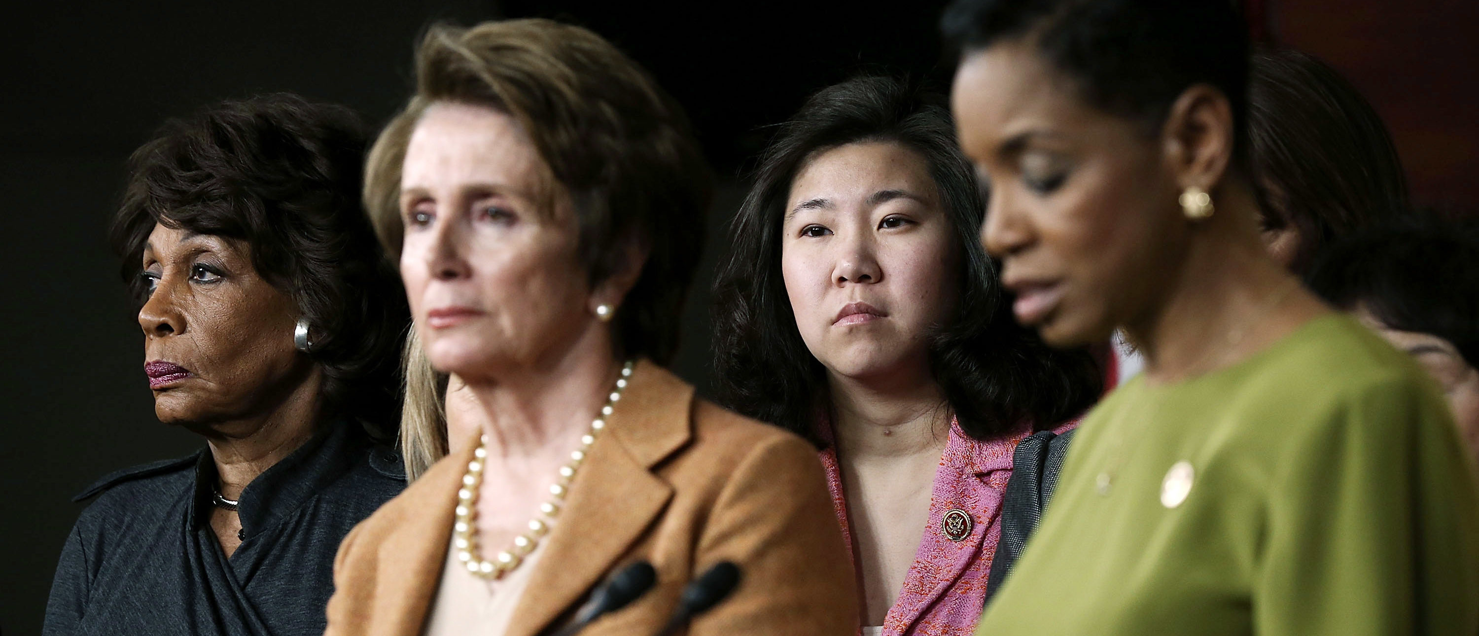 WASHINGTON, DC - FEBRUARY 28: (L-3rd L) U.S. Rep. Maxine Waters (D-CA), House Minority Leader Rep. Nancy Pelosi (D-CA), and Rep. Grace Meng (D-NY) stand during a news conference February 28, 2013 on Capitol Hill in Washington, DC. Pelosi held a news conference to discuss the sequester. (Photo by Alex Wong/Getty Images)