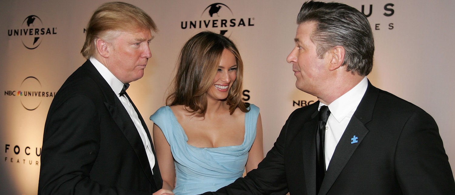 Real Estate tycoon Donald Trump, wife Melania Trump, and Actor Alec Baldwin arrive at the NBC/Universal Golden Globe After Party held at the Beverly Hilton on January 15, 2007. (Photo: Frazer Harrison/Getty Images)