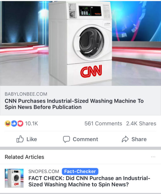 "Facebook using ""related articles"" to fact check The Babylon Bee (Screenshot/Facebook)"