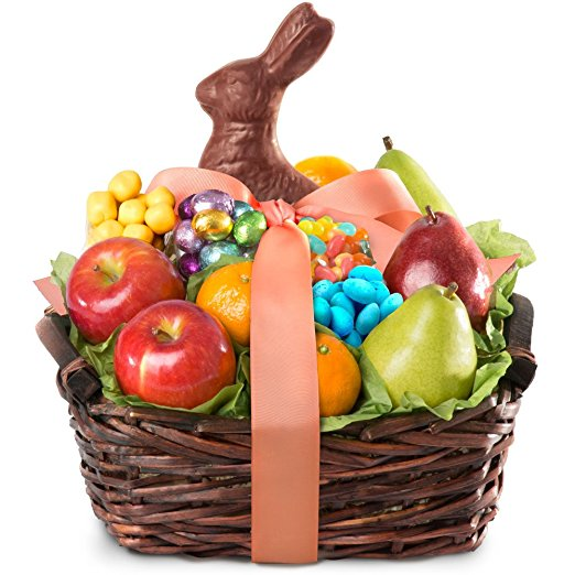 Normally $44, this Easter bunny fruit and treats basket is 40 percent off today (Photo via Amazon)