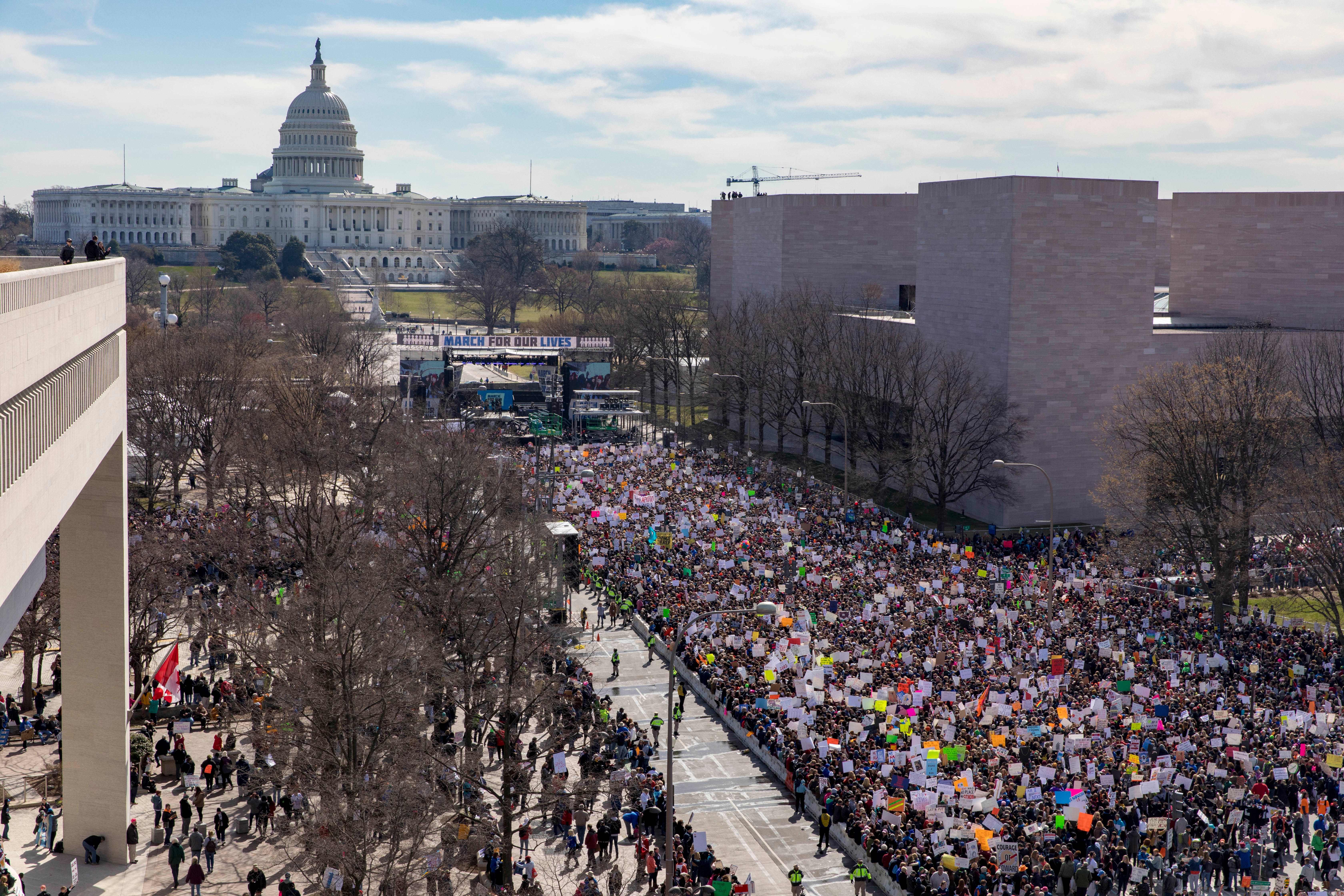 The crowd at the March for Our Lives Rally as seen from the roof of the Newseum in Washington, DC on March 24, 2018. Galvanized by a massacre at a Florida high school, hundreds of thousands of Americans are expected to take to the streets in cities across the United States on Saturday in the biggest protest for gun control in a generation. (ALEX EDELMAN/AFP/Getty Images)