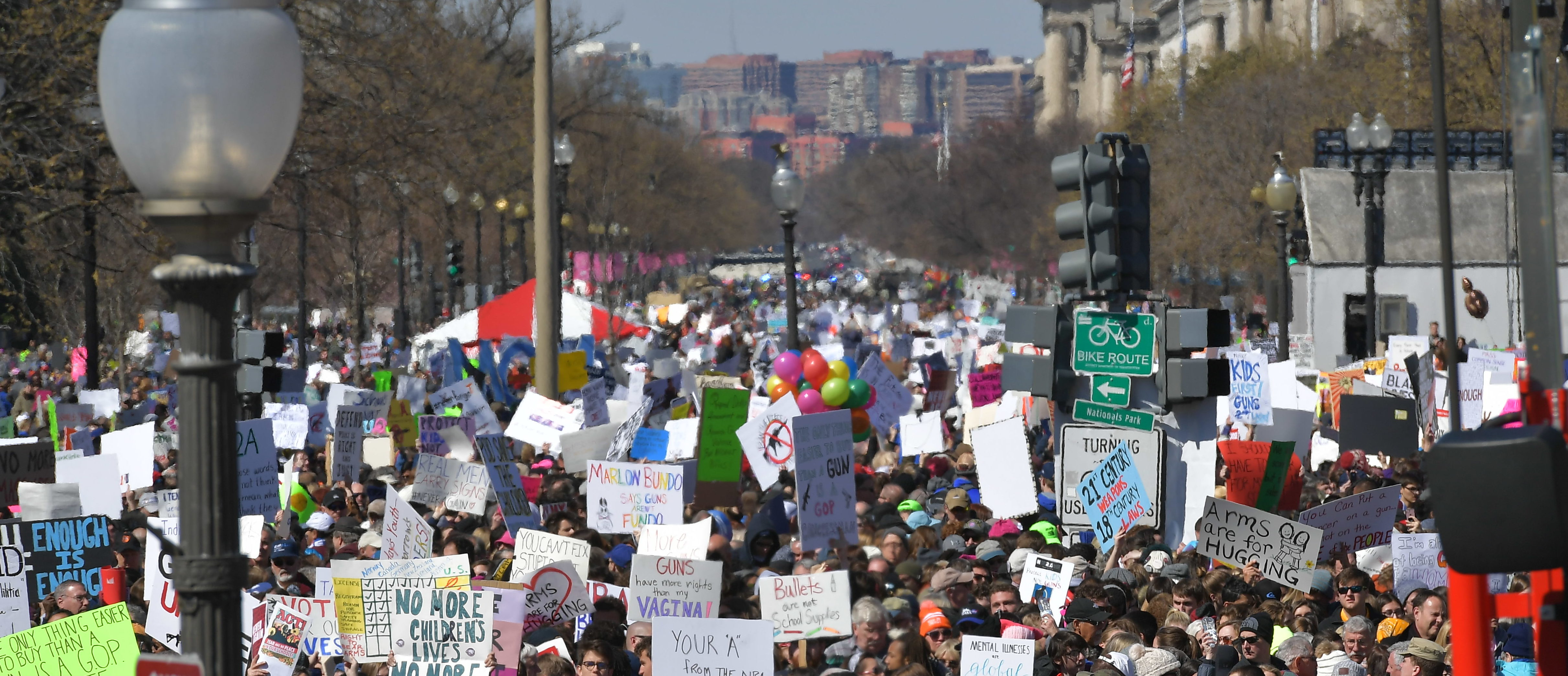 People gather at the March for Our Lives Rally in Washington, DC on March 24, 2018. Galvanized by a massacre at a Florida high school, hundreds of thousands of Americans are expected to take to the streets in cities across the United States on Saturday in the biggest protest for gun control in a generation. (NGAN/AFP/Getty Images)
