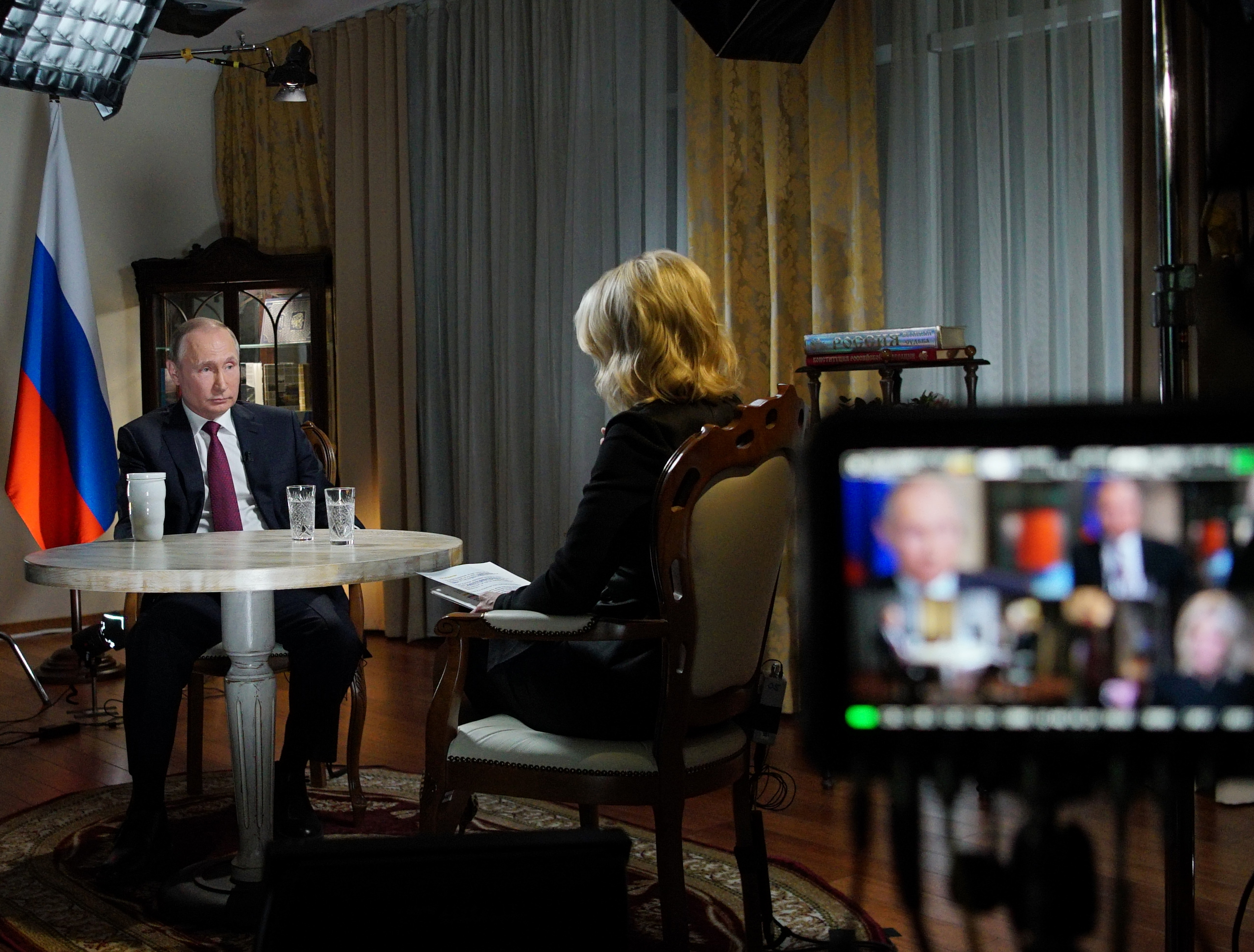 Russia's President Vladimir Putin (L) speaks with US NBC news network anchor Megyn Kelly at the Kremlin on March 1, 2018 in Moscow. (ALEXEI DRUZHININ/AFP/Getty Images)